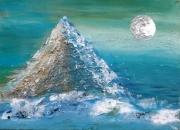 tableau abstrait abstrait bleu deco murale relief : Pluie d'étoiles
