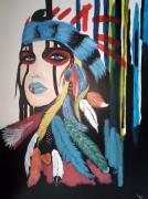 tableau personnages tableau indien amerindien tableau acrylique tableau personnage : Tableau indien