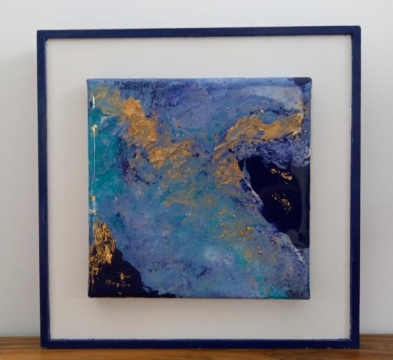 TABLEAU PEINTURE tableau pouring bleu or blanc tableau abstrait finition résine Abstrait Acrylique  - Tableau pouring