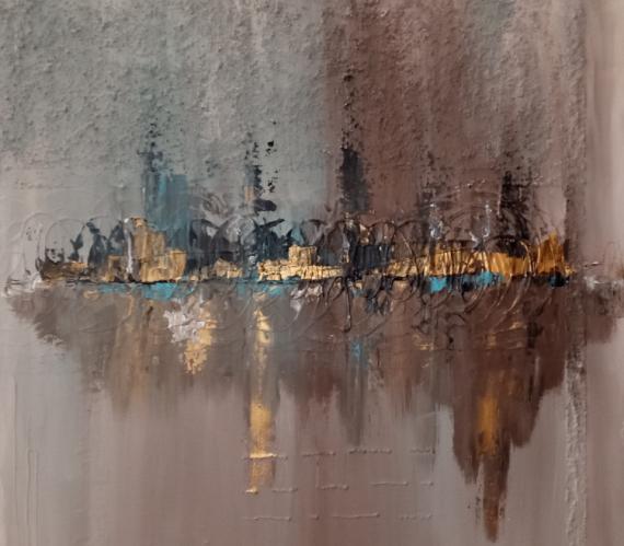 TABLEAU PEINTURE tableau abstrait peinture acrylique et pâte structurante tons or beige marron noir bleu tableau moderne Abstrait Acrylique  - Tableau abstrait moderne