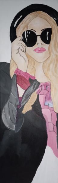 TABLEAU PEINTURE tableau jeune fille fille moderne toile fille tableau moderne Personnages Acrylique  - Tableau jeune fille moderne