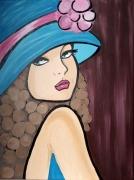 tableau personnages tableau femme chapea chapeau bleu deco murale tableau moderne : Tableau femme au chapeau bleu