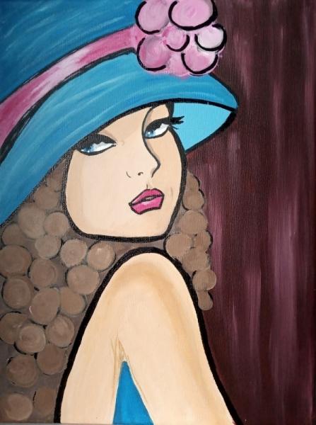 TABLEAU PEINTURE tableau femme chapea chapeau bleu déco murale tableau moderne Personnages Acrylique  - Tableau femme au chapeau bleu