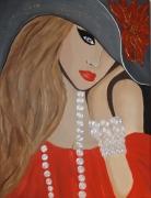 tableau personnages visage femme portrait perles portrait : Femme aux perles