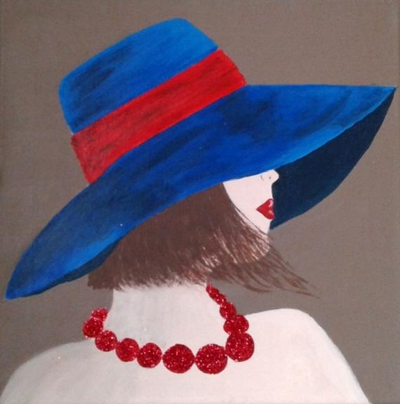 TABLEAU PEINTURE femme au chapeau femme élégante femme dame au chapeau Personnages Acrylique  - Femme au chapeau