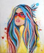 tableau personnages tableau indienne portrait indienne deco murale femme ameriendienne : Tableau indienne