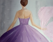 tableau personnages ballerine rose deco murale danseuse : Tableau danseuse foulard