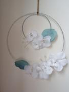 deco design fleurs couronne fleurs couronne ,a suspendre couronne romantique mobile fleurs : Couronne fleurs tissu et perles
