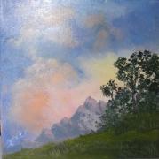 tableau paysages montagne soir soleil coucher de soleil : Début de soirée sur la Montagne
