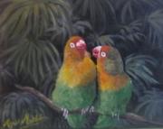 tableau animaux oiseau inseparables afrique perroquet : Les inséparables