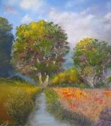tableau paysages arbres riviere ete champ : La petite rivière en été