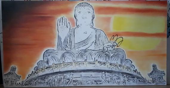 TABLEAU PEINTURE Bouddha Zen Méditation Paysages  - Bouddha de Tian Tan