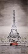 tableau paysages tour eiffel paris 2cv : Tour Eiffel