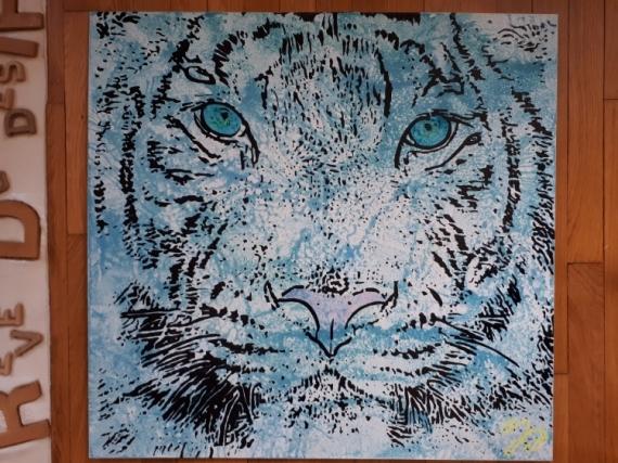 TABLEAU PEINTURE tigre félin Animaux Acrylique  - Tigre Blanc