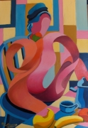 tableau personnages petit dejeuner : tableau contemporain n32