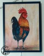 """tableau animaux coq crete rouge bleu : """"Coq queue bleue"""""""