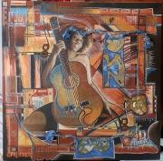 """tableau personnages guitare afro collage matieres : """"Massogonaà la guitare"""""""