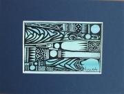 """tableau autres encre motif deco symbolique : """"Blue Moove"""""""