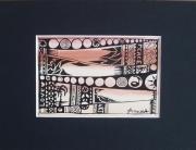 """tableau autres encre motif deco symbolique : """"paix interieure"""""""