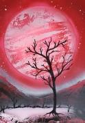 tableau paysages planete rose lac arbre mort spray paint : Lune de sang