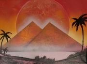 tableau paysages pyramide egypte palmiers mystere keja spraypaint : Mysterieuse Egypte