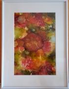 tableau tableau encre acrylique fleurs : Fleurs à l'encre