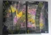 tableau abstrait diptyque acrylique abstrait : Abstrait1