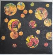 tableau abstrait tableau acrylique noir ronds : Bulles de couleurs