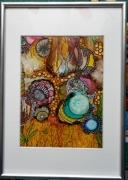 tableau fleurs tableau encre abstrait jardin : Jardin abstrait