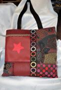art textile mode sac tote bag patchwork similicuir sac shopping : Sac patchwork en simili cuir