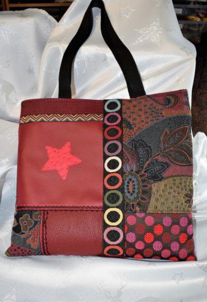 ART TEXTILE, MODE sac tote bag patchwork simili-cuir sac shopping  - Sac patchwork en simili cuir