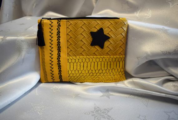 ART TEXTILE, MODE pochette patchwork simili cuir organisateur de sac  - pochette patchwork en simili cuir