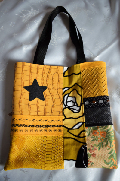 ART TEXTILE, MODE sac cabas shopping sac été plage sac artisanal siili cuir fabrication artisanale française  - Sac patchwork en simili cuir