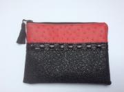 art textile mode autres porte monnaie pochette trousse sac : Pochette simili pièce unique