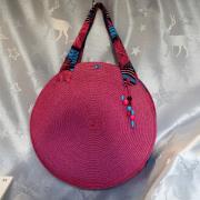 art textile mode : sac rond en rafia rose fushia