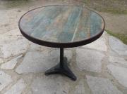 bois marqueterie autres bois table fonte fer : TABLE RONDE