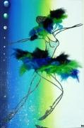 tableau personnages plume danseuse bleu vert : Blue dream...
