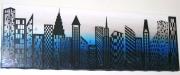 tableau villes building bleu nuit : Blue building