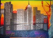 tableau villes new york building pont de brooklyn statut de la liberte : USA By Night...