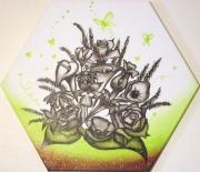 tableau fleurs fleurs papillon rose lys : Bouquet de printemps
