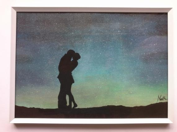"""TABLEAU PEINTURE romance couple nuit étoilée amour  - Peinture silhouette """"couple"""""""