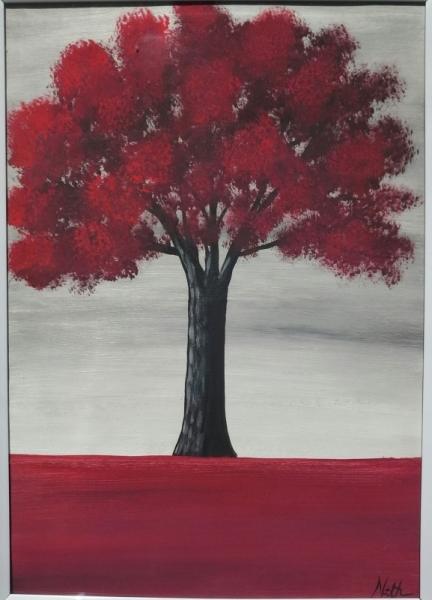 """TABLEAU PEINTURE arbre arbre rouge nature Paysages Acrylique  - Peinture """"Arbre rouge"""" avec cadre"""
