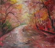 tableau paysages arbres : Les arbres rouges