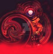 art numerique personnages digital personnage surrealisme horreur : Clown meurtrier dans un brouillard rouge