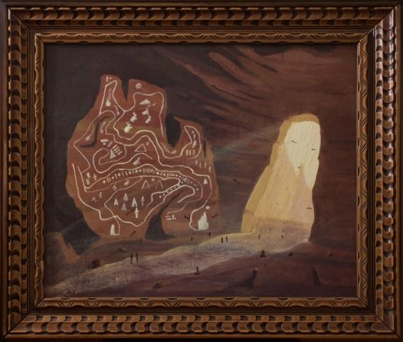TABLEAU PEINTURE caverne lumière grotte rupestre Paysages Acrylique  - Labyrinthe des contes