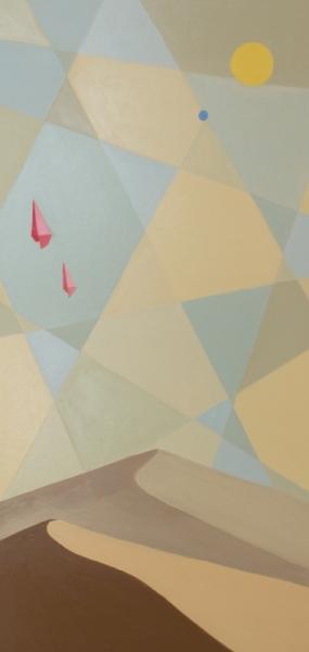 TABLEAU PEINTURE minimaliste désert poly art dunes Paysages Peinture a l'huile  - Ces deux choses