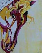 tableau animaux cheval rose jaune portrait : Sans titre