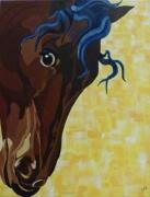 tableau animaux cheval portrait enfant bleu : Crinière bleue