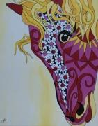 tableau animaux cheval fille enfant rose : Cheval de fille