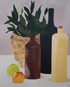 tableau nature morte bouteilles pot laurier pomme : Laurier/pommes
